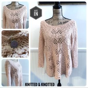 Knitted & Knotted Peach Sweater Size Large